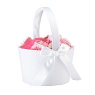 Round Flower Basket in White