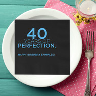 Years of Perfection Personalized Birthday Napkins | Happy Birthday Napkins