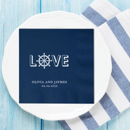 L {Ship Wheel} VE Nautical Themed Personalized Wedding Napkins | Wedding Reception Napkins