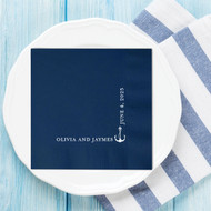 Corner Anchor {with Names and Date} Personalized Wedding Napkins | Wedding Reception Napkins