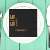Bold MR. and MRS. Personalized Napkins | Wedding Reception Napkins