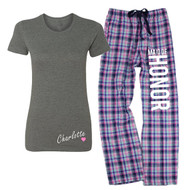Personalized Name {with Heart} Deep Grey Fitted Tee and MAID OF HONOR Mali Plaid Flannel Lounge Pant | Maid of Honor Pajamas