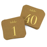 Kraft and Gold Table Number Cards {1-40}