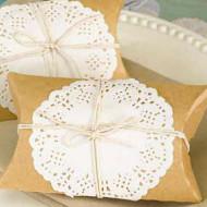 DIY Kraft Pillow Box Kit with Doily and Jute {Set of 12}