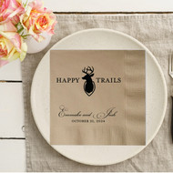 HAPPY TRAILS {with Deer Antlers} Personalized Wedding Napkins | Wedding Reception Napkins