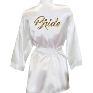 Brush Script Bride Glitter Print Satin Robe