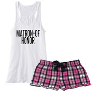 MATRON {Heart} OF HONOR Fuchsia Plaid Boxer with Flowy White Tank Pajama Set