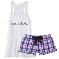 mrs {with Last Name and Hearts} Personalized Mali Plaid Boxer with Flowy White Tank PJ Set