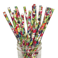 Watercolor Floral Eco-Friendly Paper Straws {Package of 25}