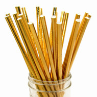 Shiny Solid Gold Foil Eco-Friendly Paper Straws {Package of 25}