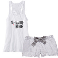 the MAID OF HONOR {with Heart} Flowy Racerback Tank and Charcoal Striped Seersucker Boxer Set
