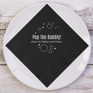 Pop the Bubbly! {with Bubbles} Personalized Napkins | Wedding Reception Napkins