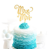 Scripty Mr & Mrs Brushed Gold Acrylic Cake Top