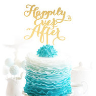 Scripty Happily Ever After Brushed Gold Acrylic Cake Top