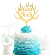 the Hunt is Over {with Antlers} Brushed Gold Acrylic Cake Top