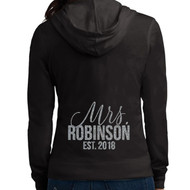 Scripty Mrs. {with Last Name and Est. Year} Glitter Print Lightweight Juniors Jersey Full-Zip Hoodie
