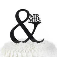 Mr. & Mrs. Black Acrylic Cake Pick