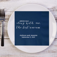 Grow Old along with me .... Personalized Napkins | Wedding Reception Napkins | Personalized Wedding Napkins