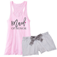 Maid of Honor {with Heart} Flowy Racerback Tank and Striped Seersucker Boxer Set