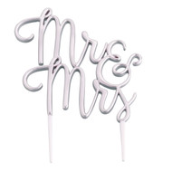 Mr & Mrs Cake Topper in Silver