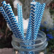 Dark Blue Chevron Paper Straws (Set of 12)