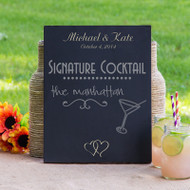 Personalized Double Heart Wedding Chalkboard Sign