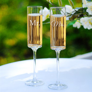 Mr. and Mrs. Contemporary Champagne Flutes