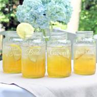 Wedding Party Mason Jars (Set of 4)