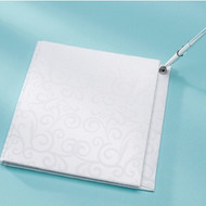 Flocked Swirl Design Guest Book with Attached Pen
