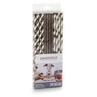 Assorted Black and Silver Patterned Paper Straws (Set of 24)