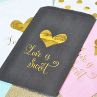 """Love is Sweet"" Gold Foil Candy Bags (Set of 12)"