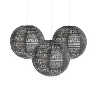 Chalkboard Print Paper Lanterns (Set of 6)