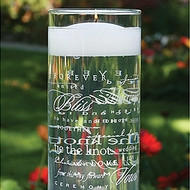 Wedding Words Glass Cylinder Vase