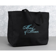 """Maid of Honor"" Tote Bag in Black"