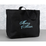 """Matron of Honor"" Tote Bag in Black"