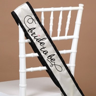 bride to be Sash in Ivory with Black Trim