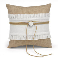 Rustic Romance Burlap Ring Pillow