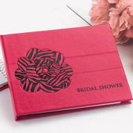 Zebra Print Shower Guest Book in Fuchsia