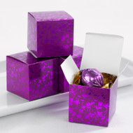 Purple Foil Flourish Favor Boxes (Set of 25)