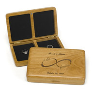 """I do forever"" Infinity Personalized Wooden Ring Box"