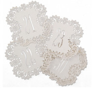 White Shimmer Laser Cut Table Number Cards (Available in 1-40)