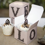 Rustic Love Cupcake Box (Set of 25)