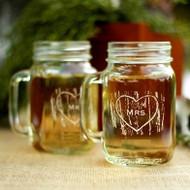 """Mr. & Mrs."" Woodgrain Love Drinking Mason Jars"