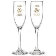 Mr. & Mrs. Golden Elegance Toasting Flute Set
