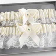 Heart and Rhinestone Garter Set in Ivory