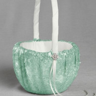 Elsa Matte Sequin Flower Girl Basket in Minty Green
