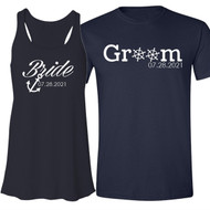 Bride and Groom Nautical Anchor and Wheels Shirt Set