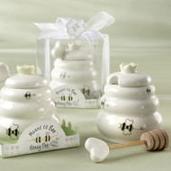 """""""Meant to Bee"""" Ceramic Honey Pot with Wooden Dipper"""