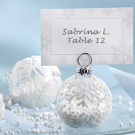 """Snow Flurry"" Glass Ornament Placecard/Photo Holder (Set of 6)"