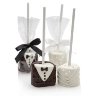 Bride and Groom Hand-Dipped Marshmallow Pop (Sold Individually)